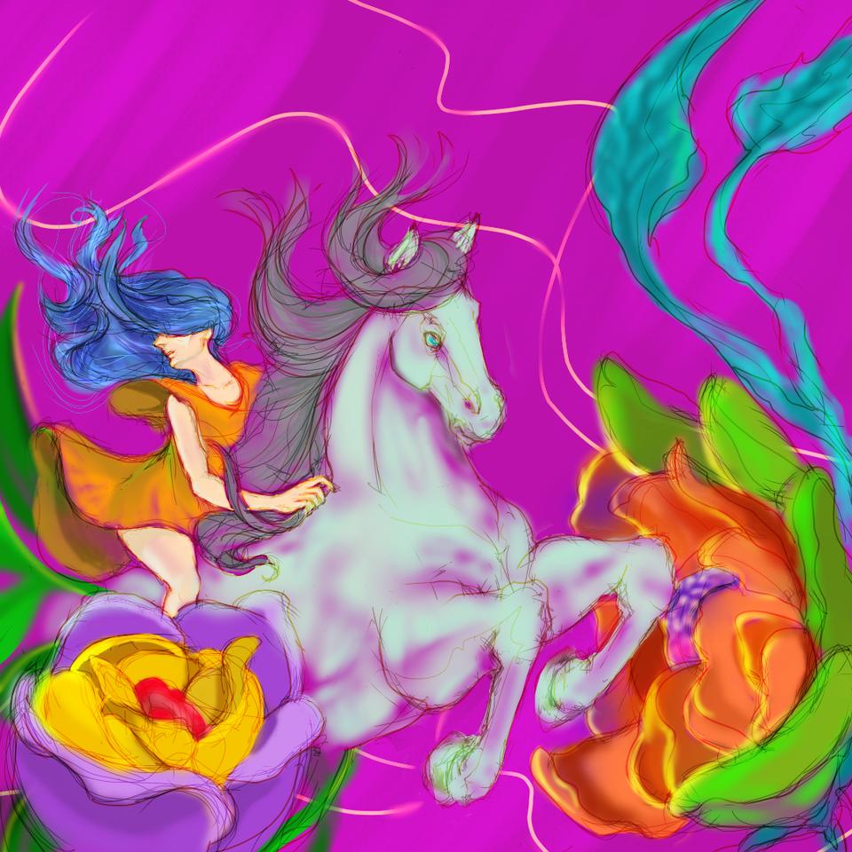 Knight of the flower kingdom Illust of daudnov fantasy medibangpaint girl Horse flower surreal