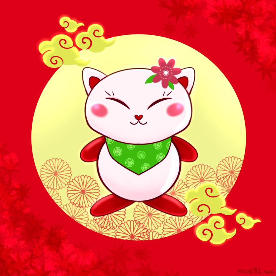 ONG Cat Illust of moonli9ht_nana medibangpaint 1hDrawingChallenge cat red cat_ears moonli9ht_nana