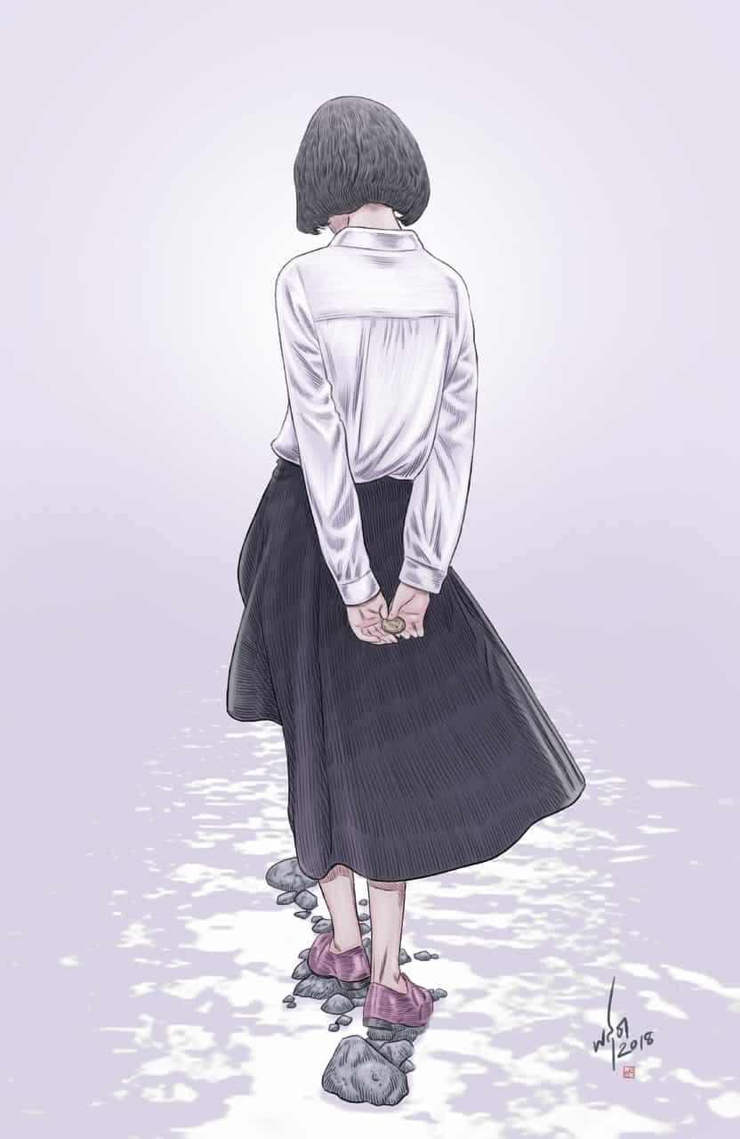 川 Illust of Passion5 water girl river 川 stone
