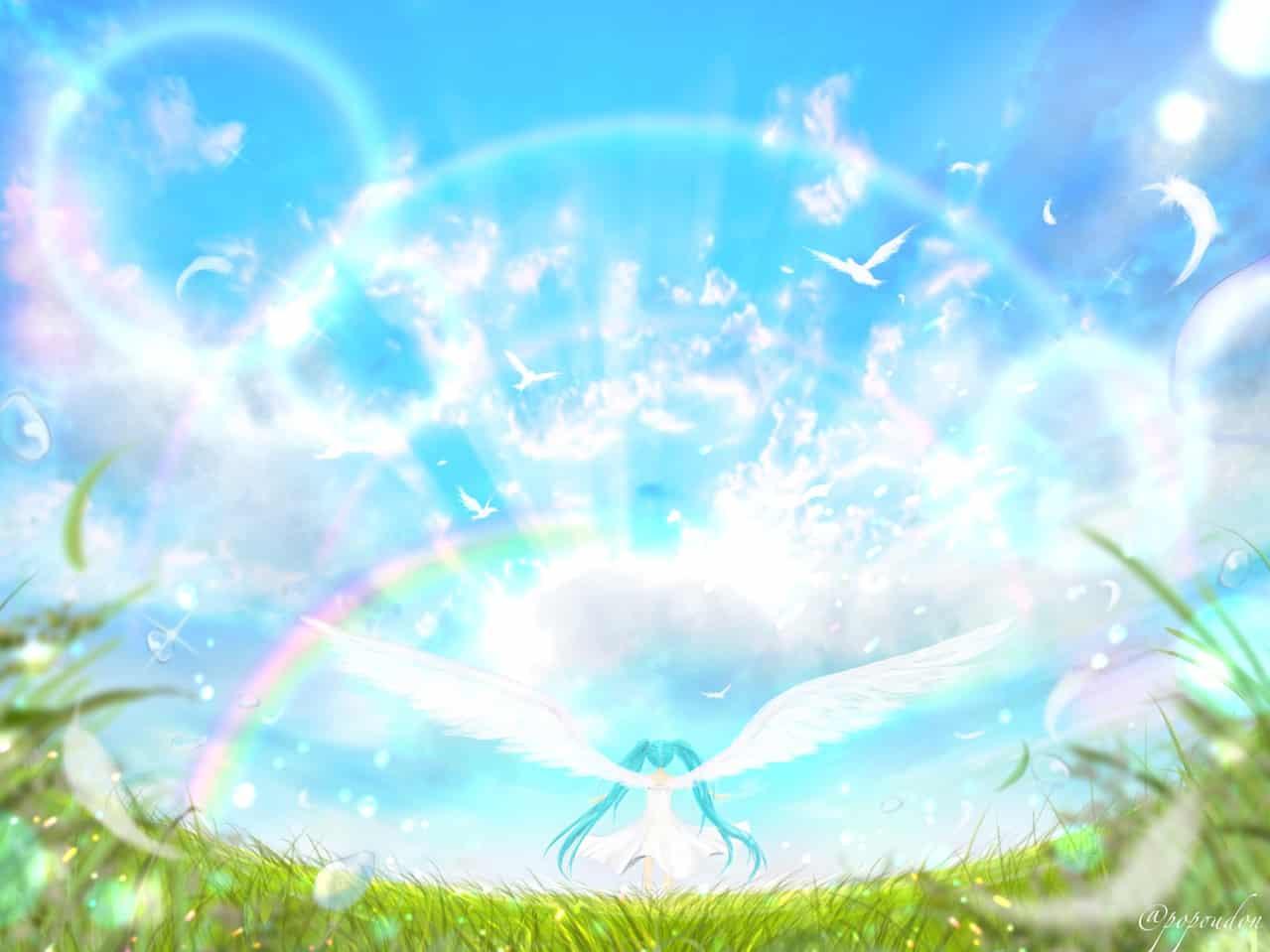 翼 Illust of ぽぽうどん April.2020Contest:Color ARTstreet_Ranking wings 草原 scenery 青空 風景画