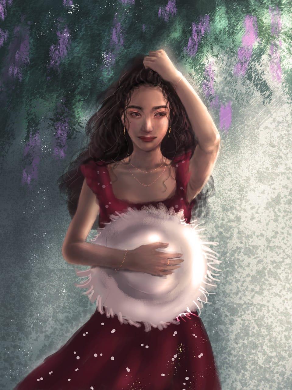 good day Illust of CHI-NAI January2021_Contest:OC female girl eyes original illustration impasto hair flower woman