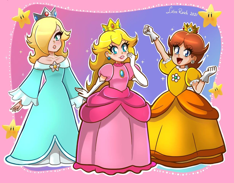 nintendo princesses Illust of LalenRasch Cristo es rey! illustration princessdaisy girl Rosalina animestyle digital fanart PrincessPeach Nintendo animegirl