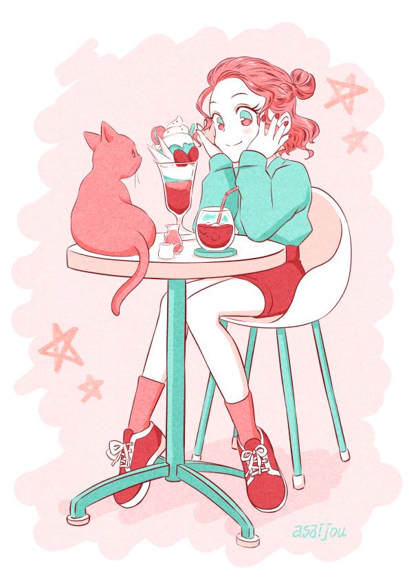 カフェ Illust of あさいじょう cat_ears girl パフェ スイーツ green pink カフェ ティータイム cat food woman