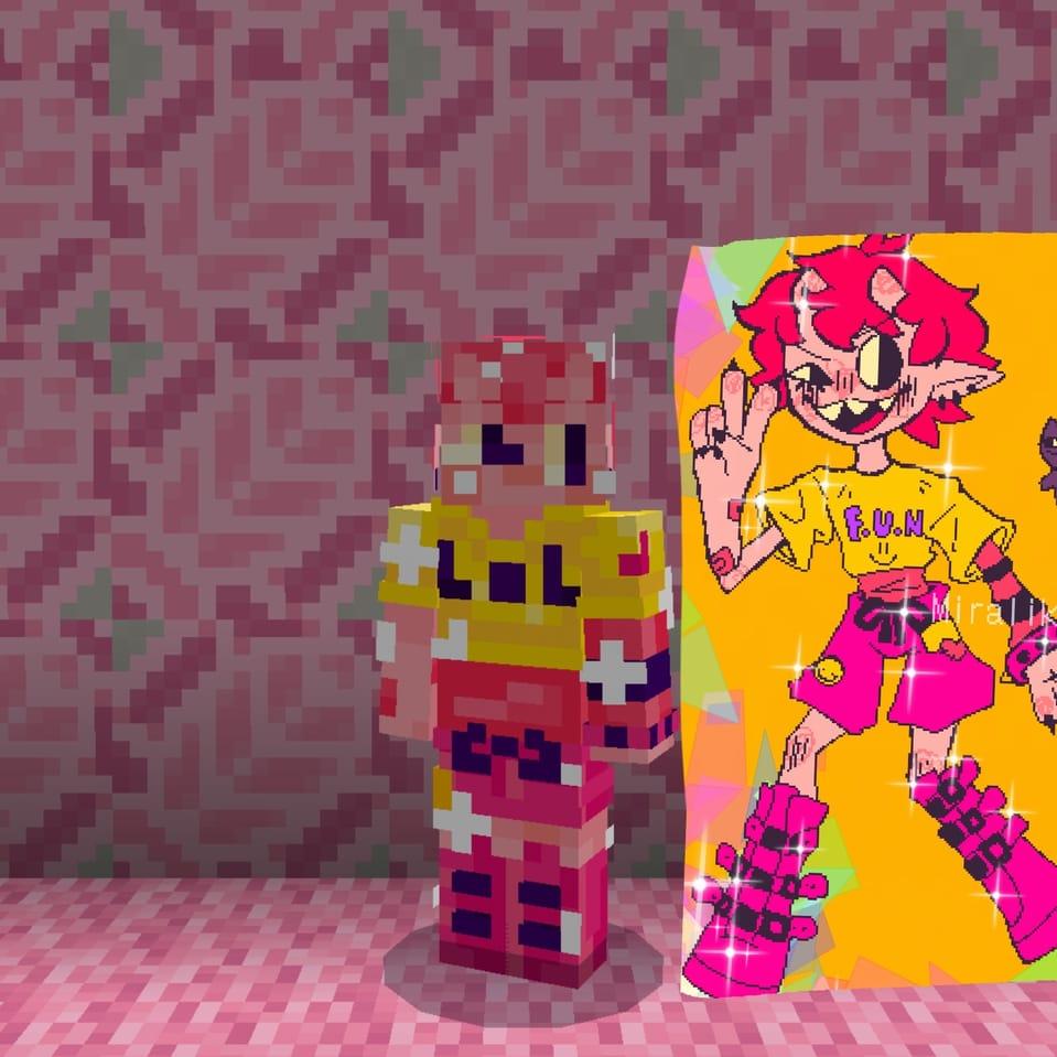 I made a minecraft skin at 3am Illust of ☆miralikescupcakes8☆ boy Minecraft Miralikescupcakes8 icantsleep oc pink 3am pinkhair