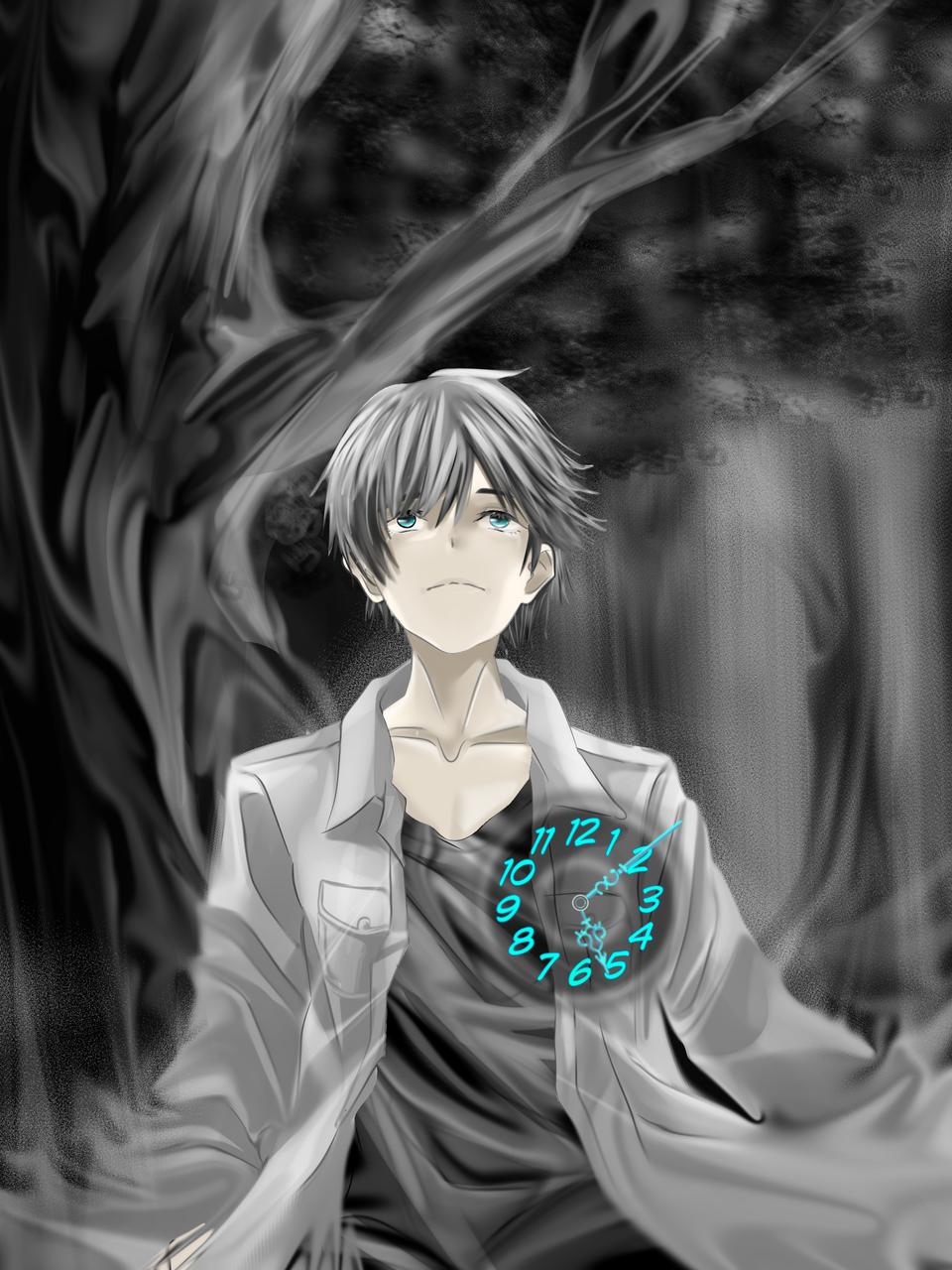 The Clock Boy Illust of Akira Luca GOMABOOKS_Contest boy grayscale