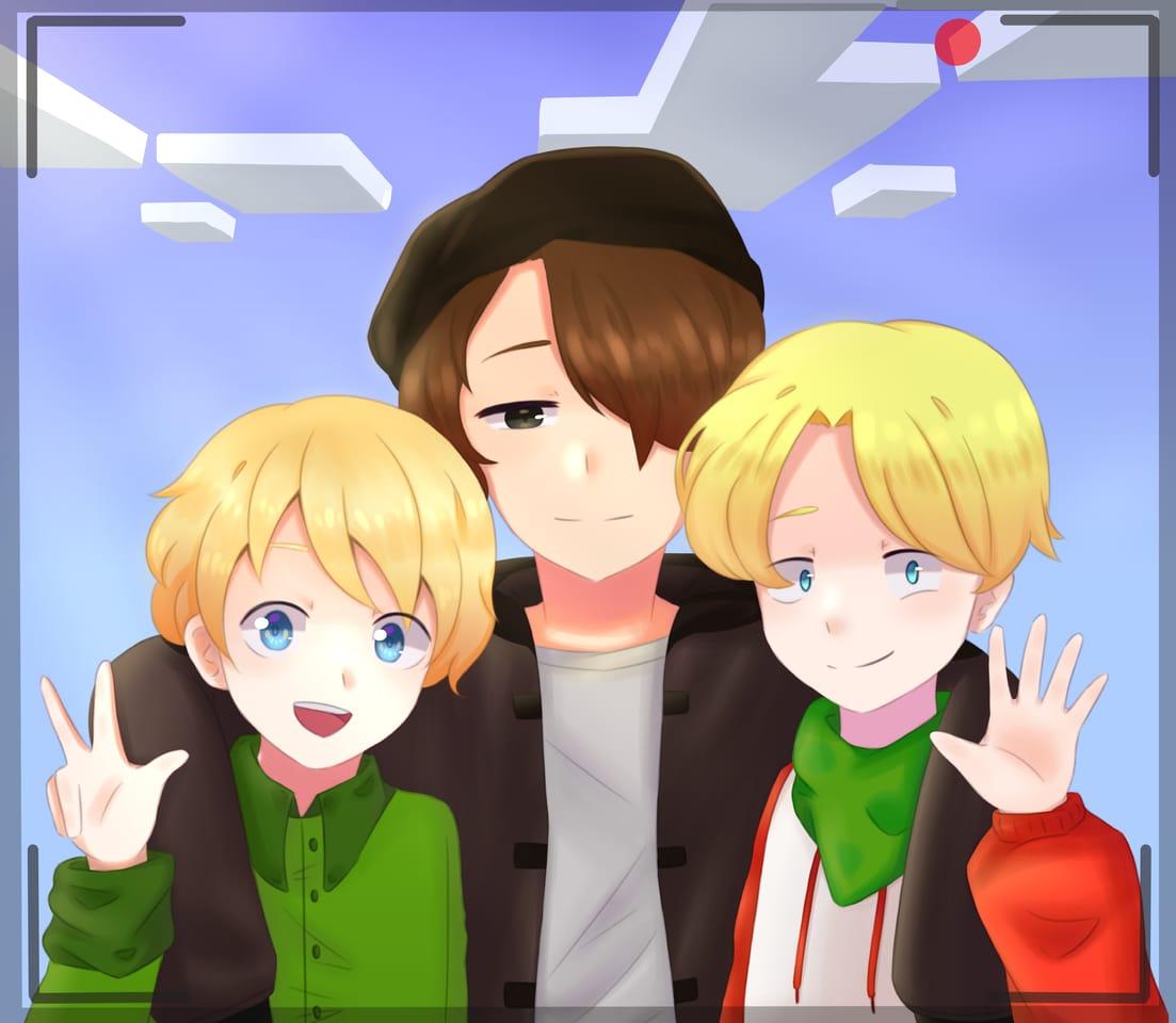 Tubbo, Wilbur & Tommyinnit - fanart Illust of Haruka Art anime fanart WilburSoot Tommyinnit YouTuber Minecraft DreamSMP Tubbo