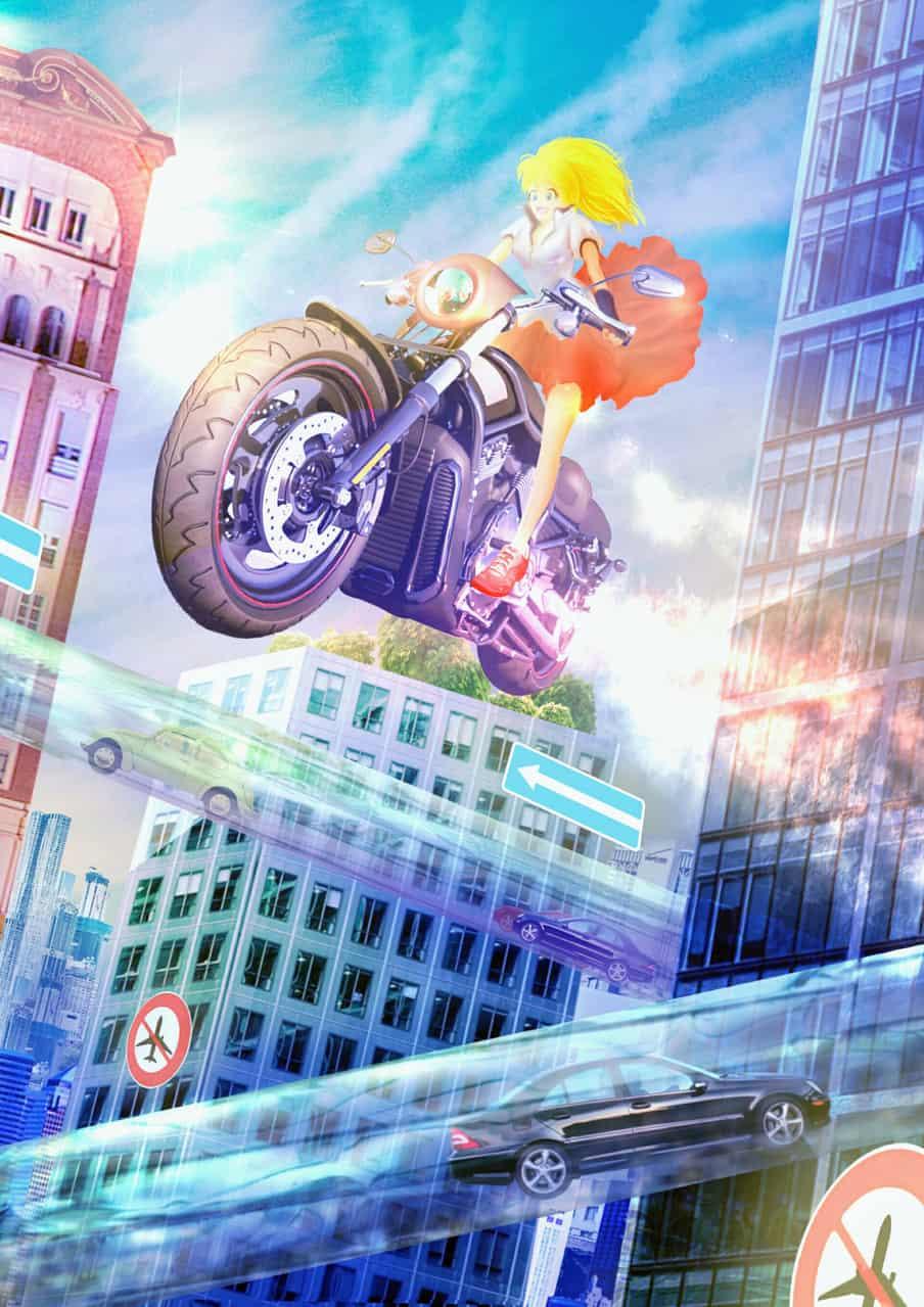 さあ、ひとっ飛び! Illust of こまわり大地 motorbike girl car original 近未来 アキラ background