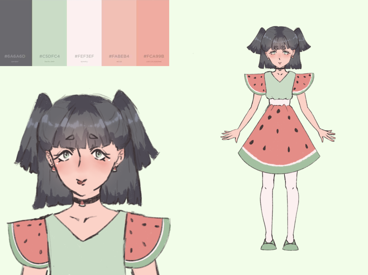 adopt for pErsOn Illust of AnonymouseSaysHoooi adopt request prize finished dress sketch gorl watermelon