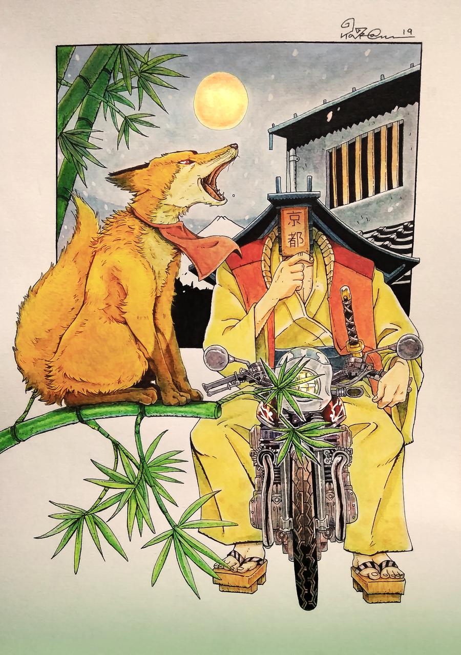 Red Howl Illust of TaraGraphika kyoto-illust2019 manga taragraphika watercolor kyoto okami kitsune Red-howl anime nippon fox