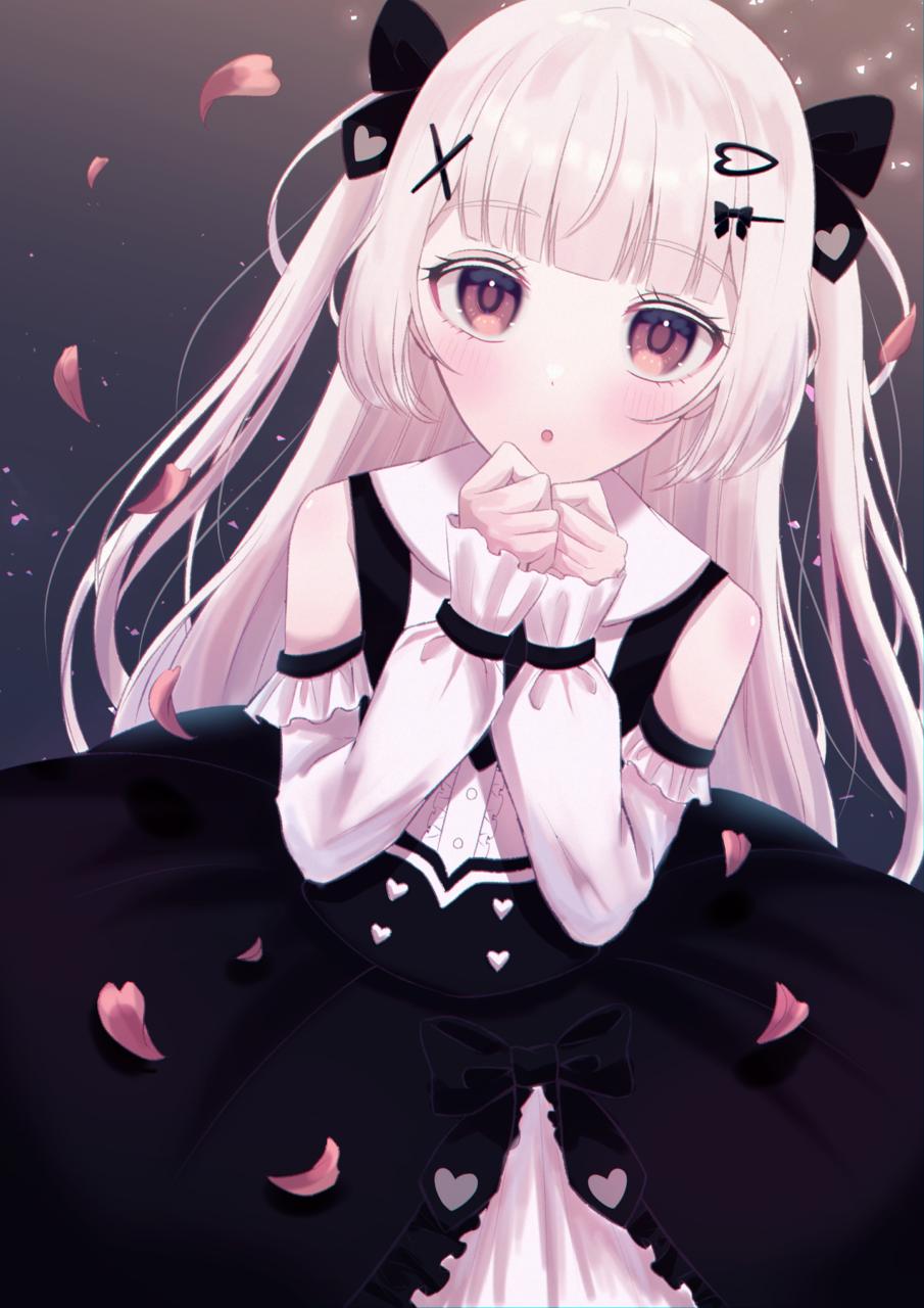 君に花びらの祝福を Illust of じゅにねう white_hair girl ツーサイドアップ original