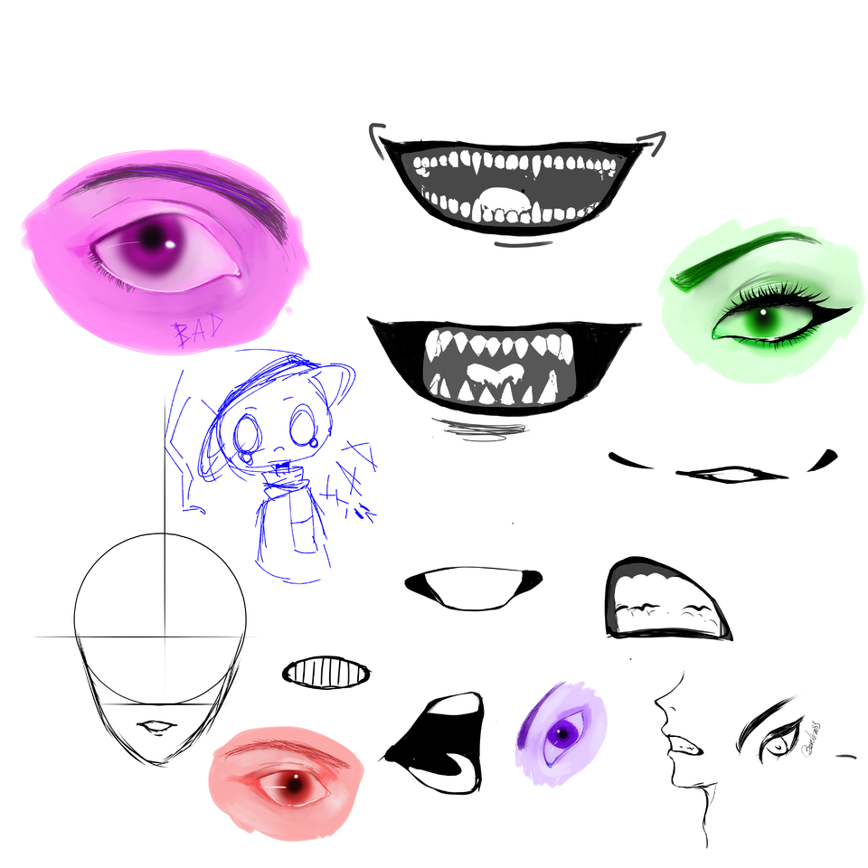 Doodle part 6 idk what I did! Illust of Emo bam 12 medibangpaint eyes doodle mouth practices