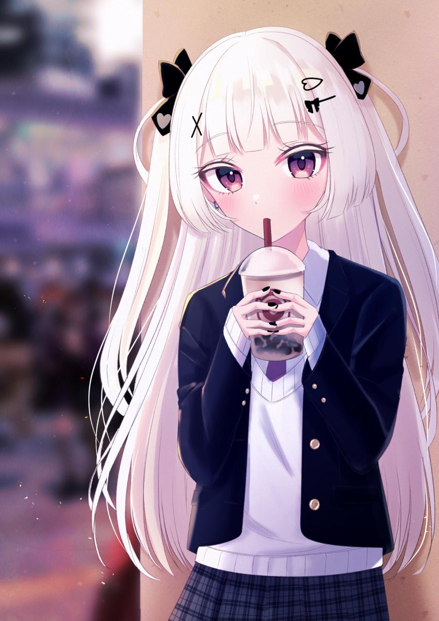 現パロシャルムちゃん❤︎ Illust of じゅにねう white_hair girl original