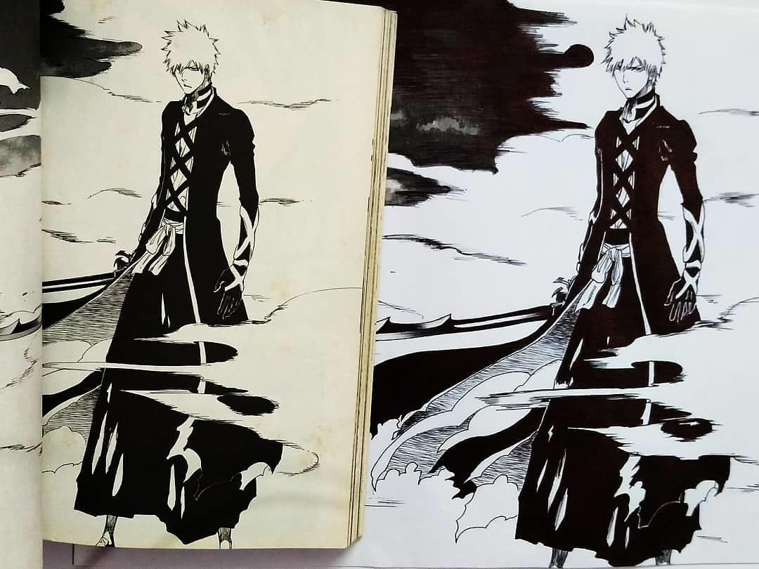 Kurosaki Ichigo Illust of SarahHoshimi black Emo blackandwhite BLEACH AnalogDrawing mangaart fanart traditionalart sword