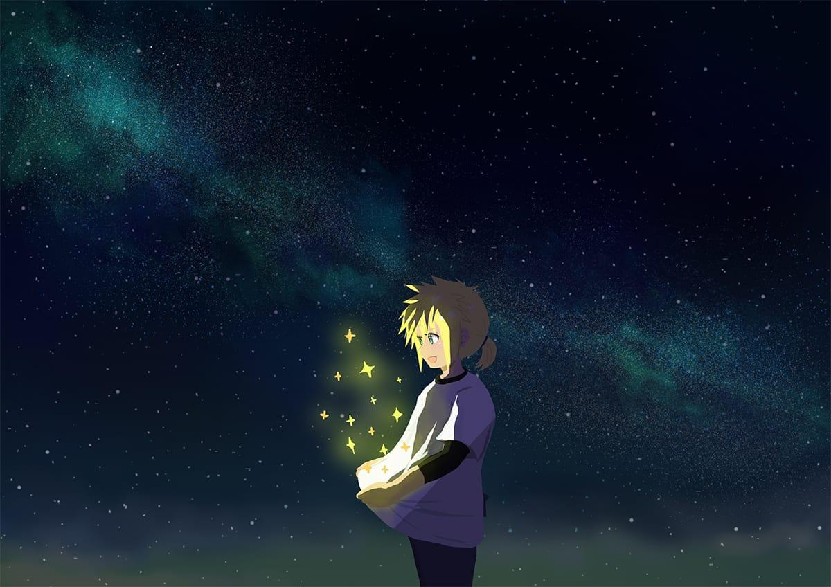 夢 Illust of ラテ茶 CloudStrife starry_sky FINALFANTASYⅦ FINAL_FANTASY
