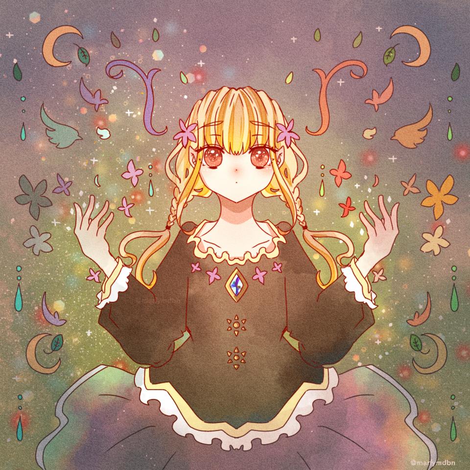 COLOR Illust of Marfy blue きらきら メルヘン kawaii fairy 三つ編み girl rainbow red blonde