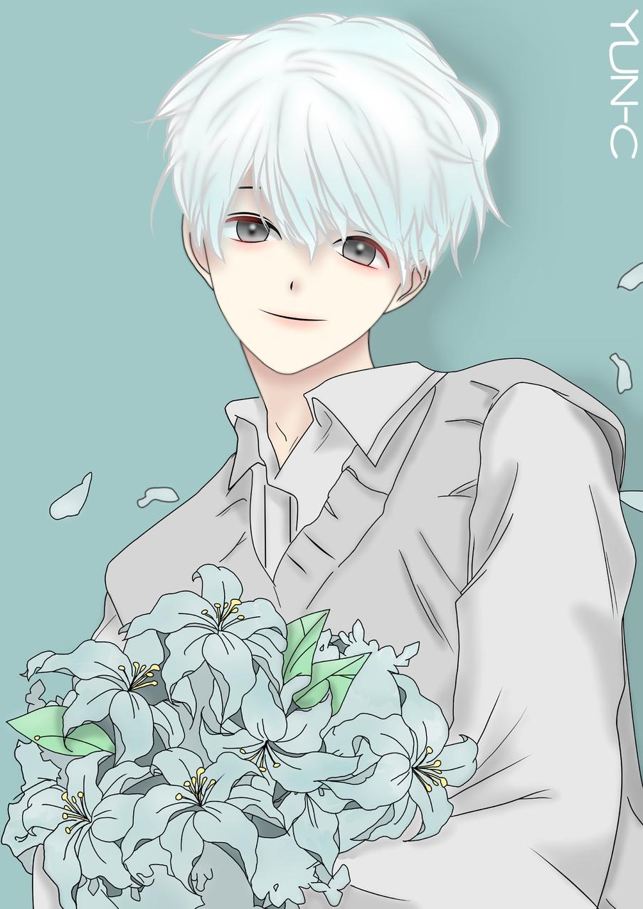 작은 기적을 안겨준 사람  Illust of YUN-C January2021_Contest:OC white_hair oc 꽃다발 꽃잎 flower yun-c 푸른