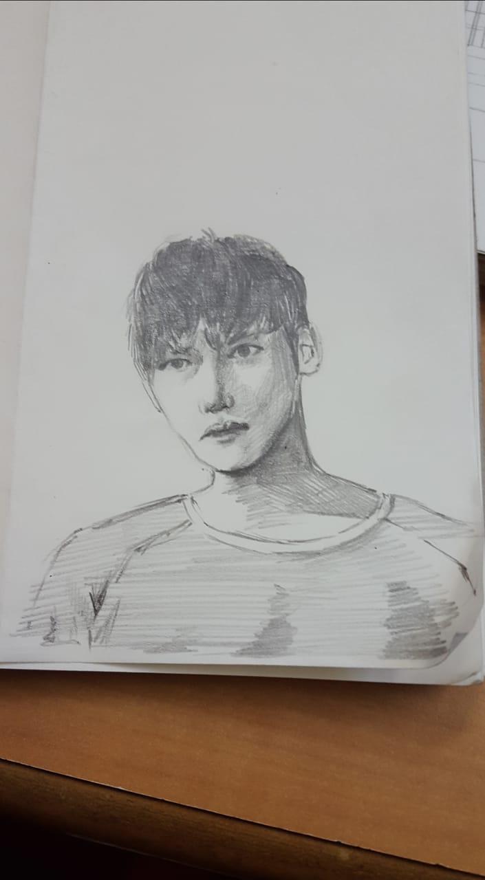 Ji Chang Wook Illust of Mira pencil fanart AnalogDrawing sketch Jichangwook