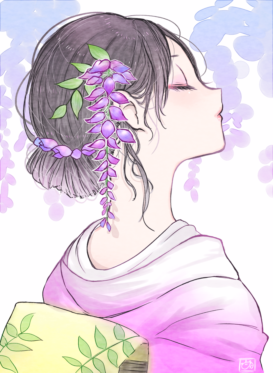 藤の花 Illust of nora ARTstreet_Ranking April.2020Contest:Color 春 横顔 藤の花 黒髪 kimono original