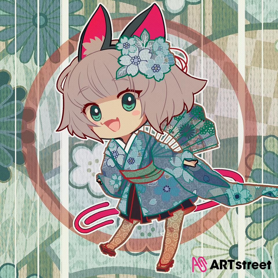 Meimi chan's spring!  Illust of shy_愛生 medibangpaint illustration Dress-up_Challenge kimono teal flower cute メディバンライブラリ 春 meimi-chan spring