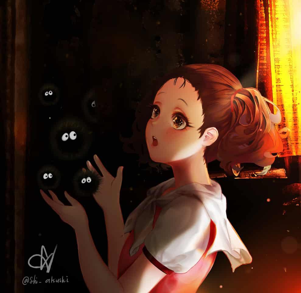 Mei and Makkuro Kurosuke Illust of shiakushi GHIBLI girl Totoro anime drawing fanart cute illustration