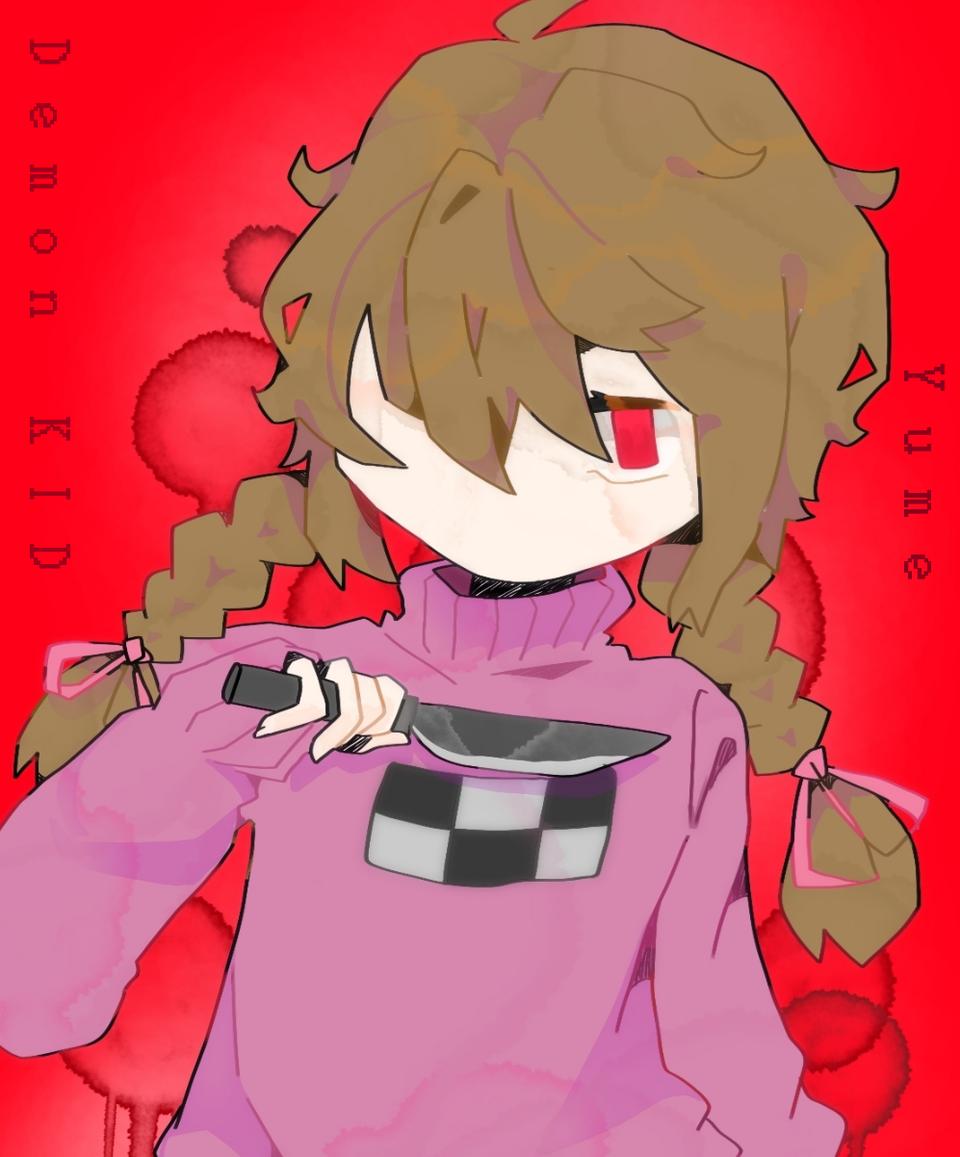 Yume Nikki Illust of Demon KID medibangpaint character girl MyArt red game pink blood