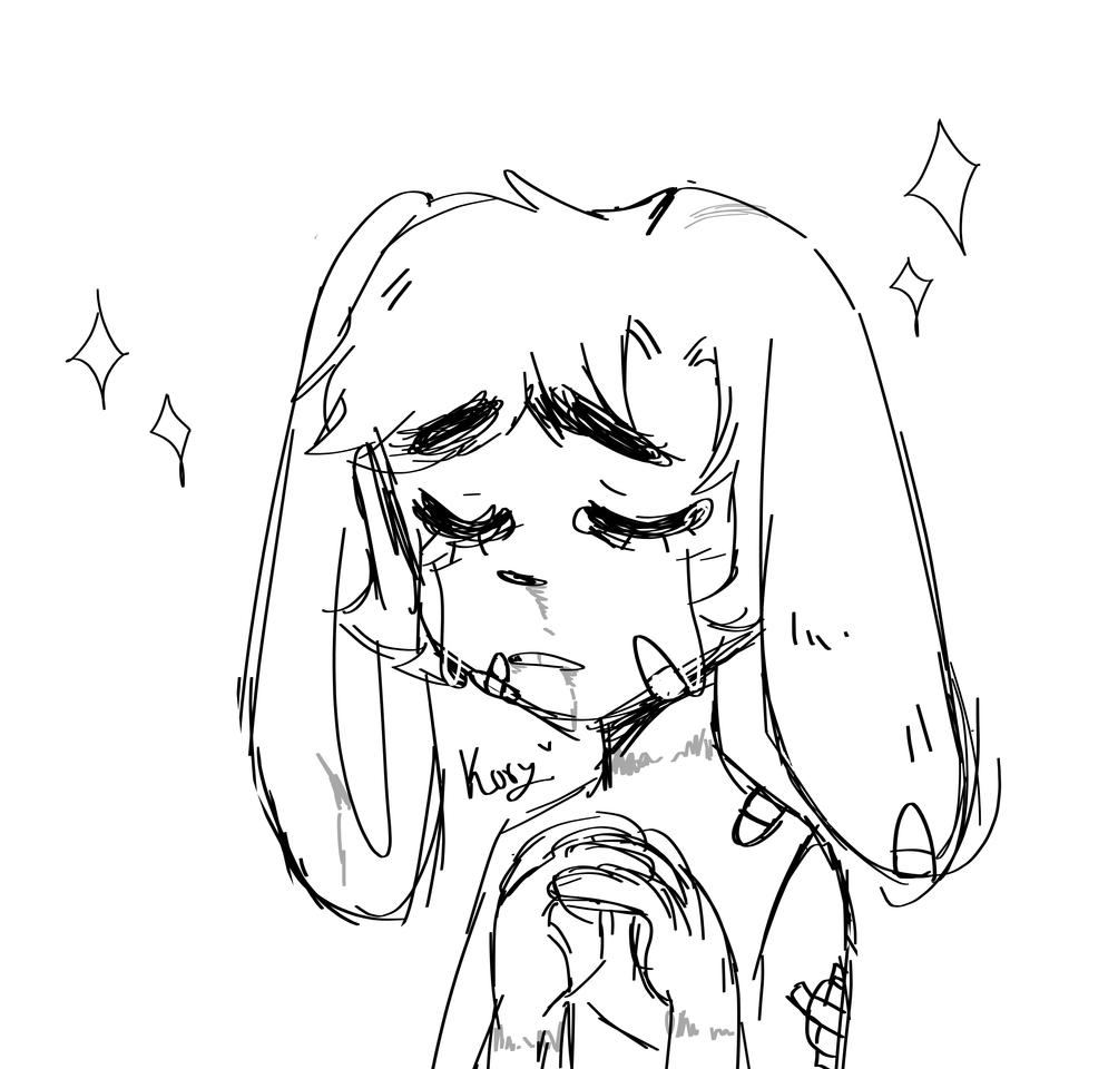 -Sketch- Poli🐰✨ Illust of Korymatsu sketch rabbit WIP kawaii cute furry MyArt sad oc