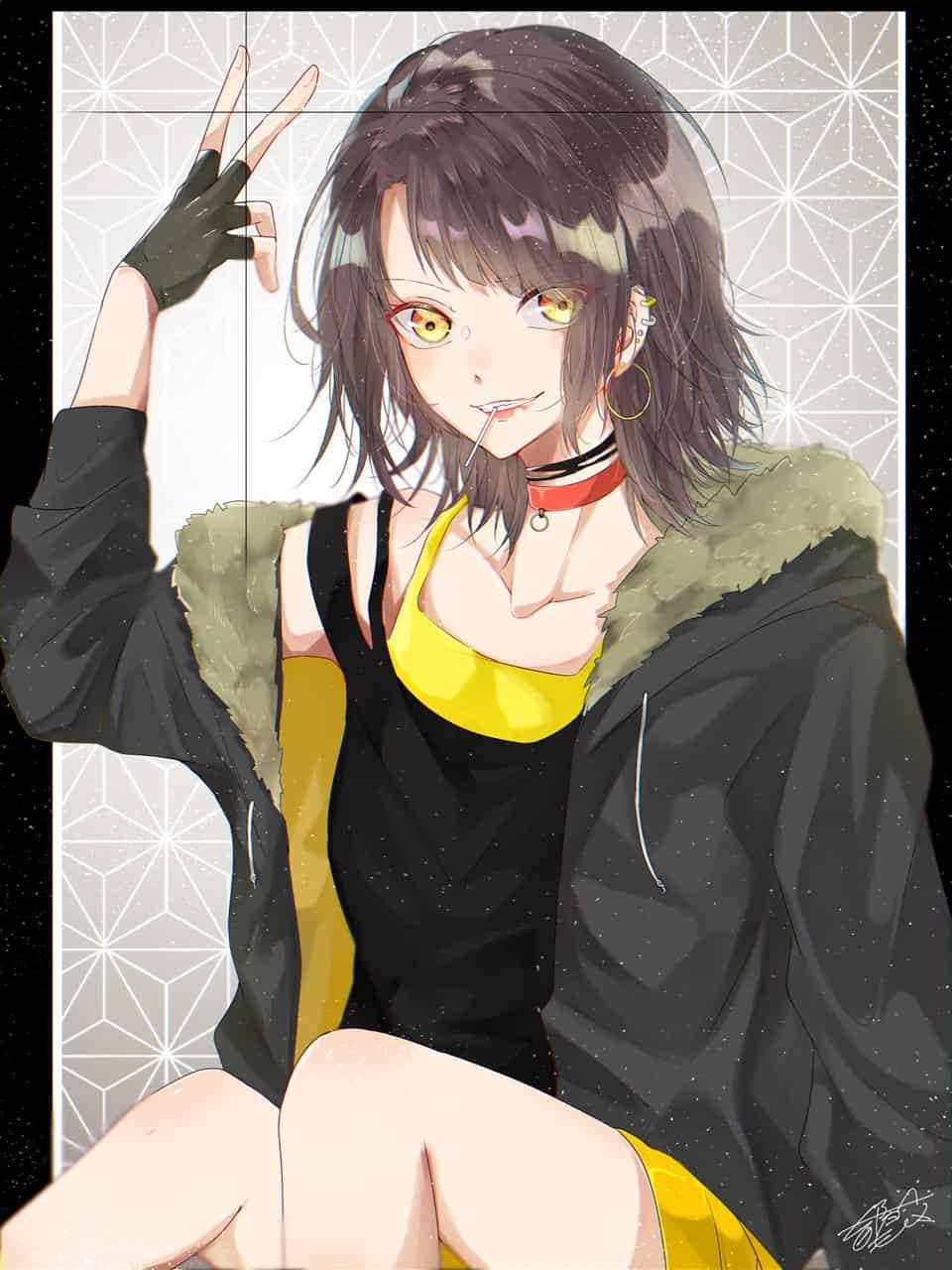 ◼ Illust of 都良 original girl かっこいい illustration piercing