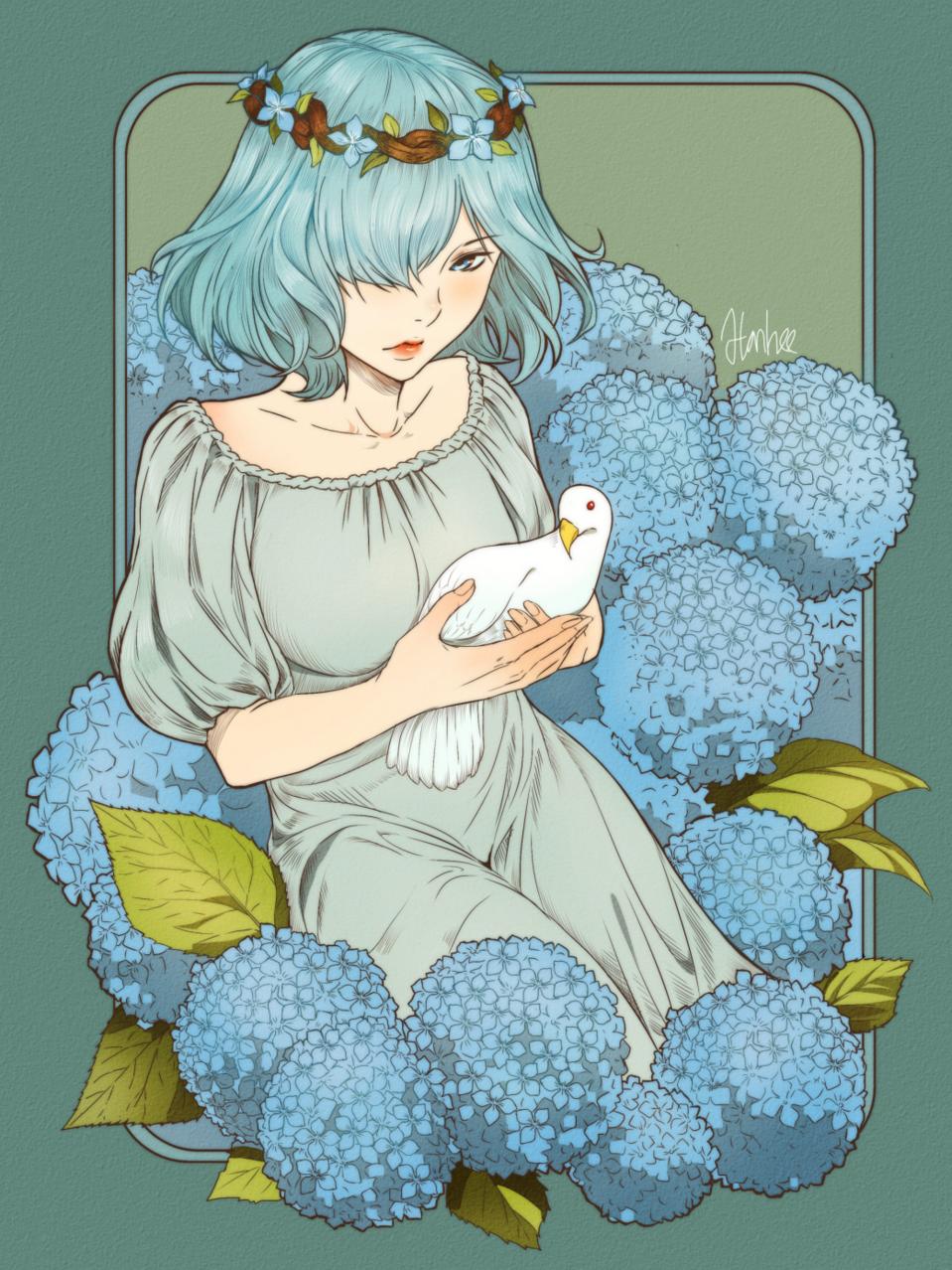 hortensia Illust of Hanheebin medibangpaint anime hortensia girl pretty kawaii cute illustration hydrangea flower