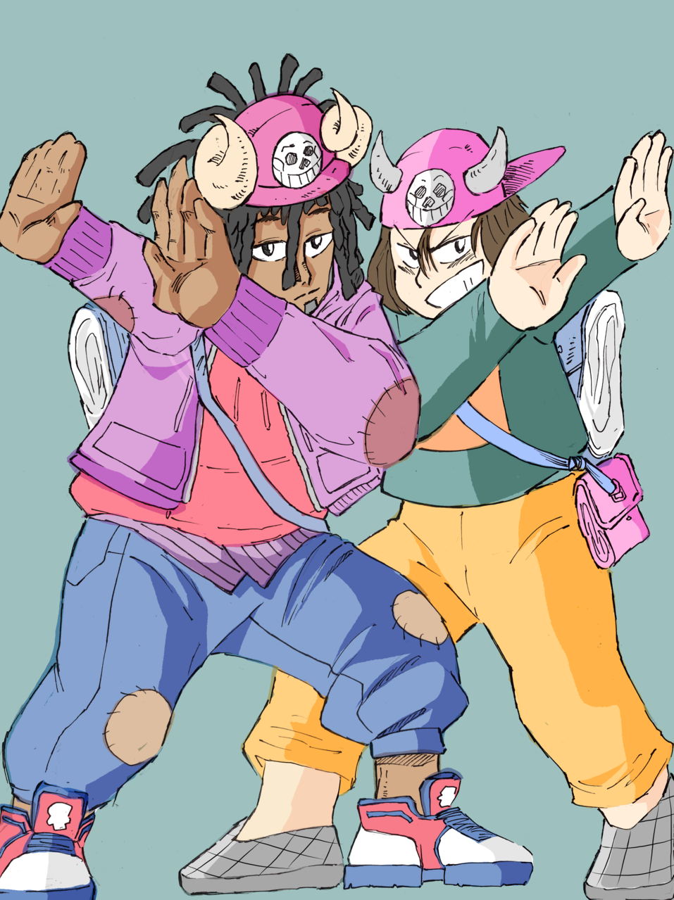 Just two best buds dabbing  Illust of That One Panda tracedrawing4th dab medibangpaint bestfriends