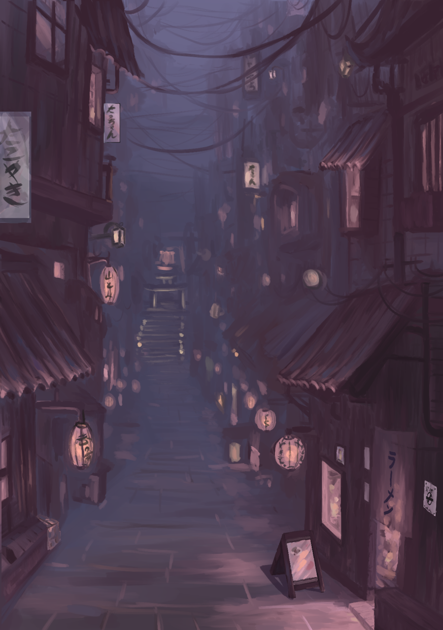 alone in the street Illust of mess_dup_chafiiart horror August2020_Contest:Horror gothic Japanese_style background