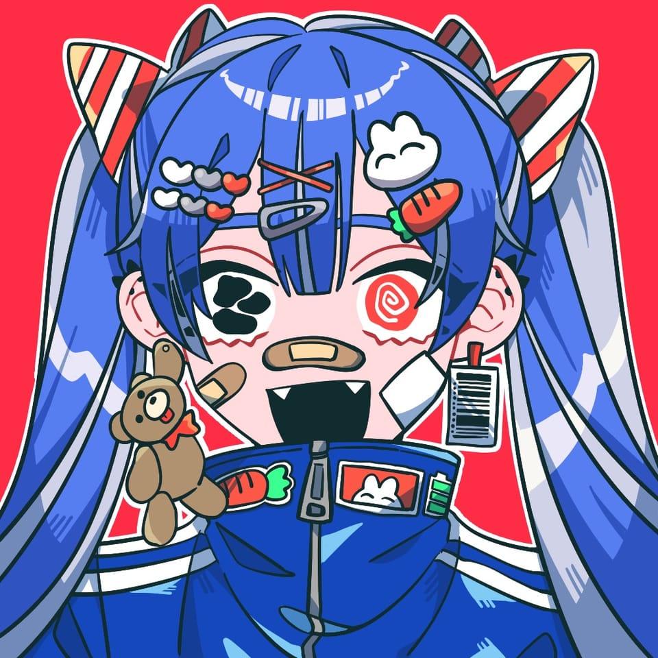 blue Illust of smzm January2021_Contest:OC ジャージ girl oc