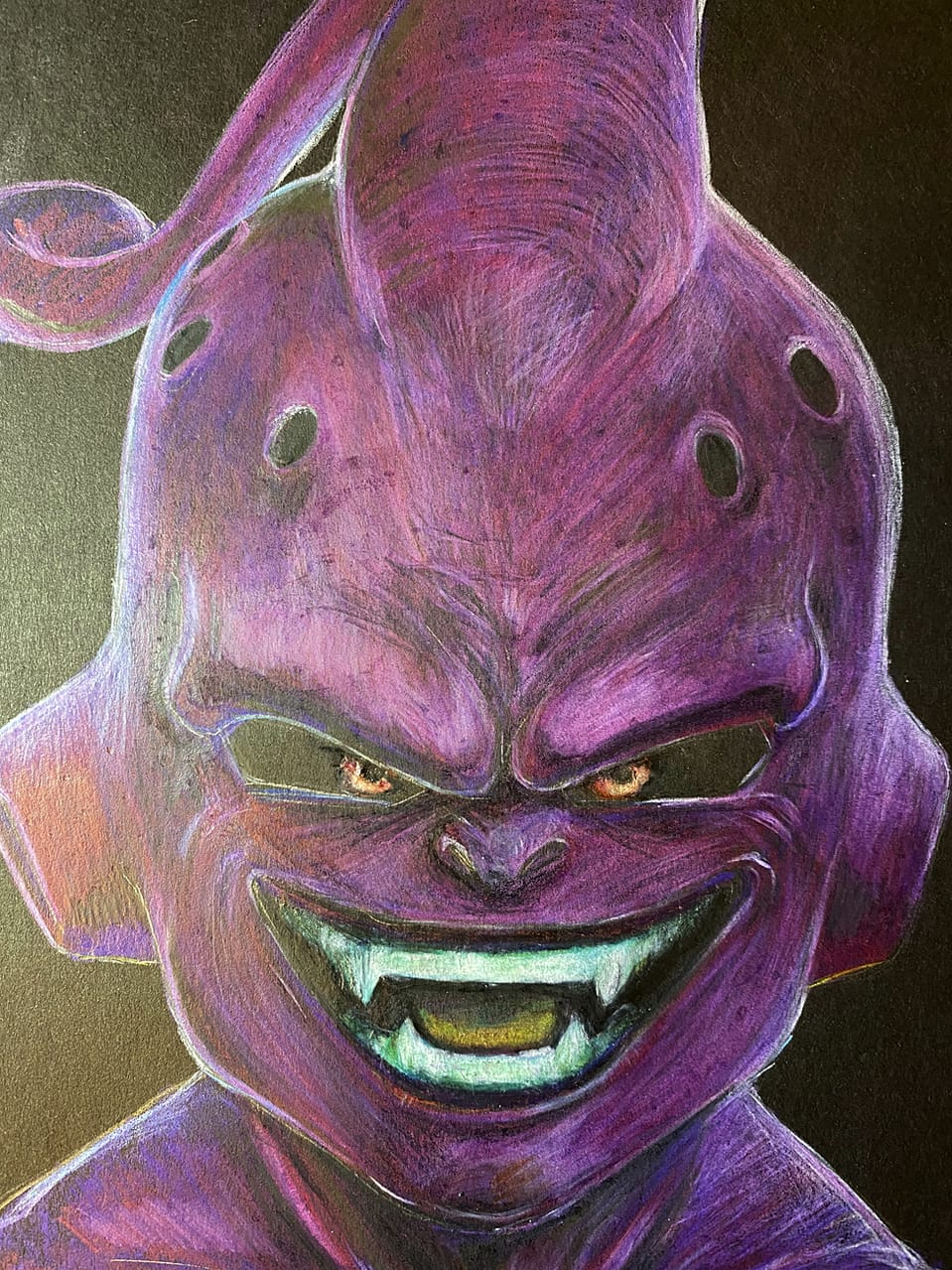 【Drawing】Majin Buu / Colored pencil/ Timelapse Illust of chuanchieh girl ペン画 Majin sketch drawing fanfic Buu art illustration