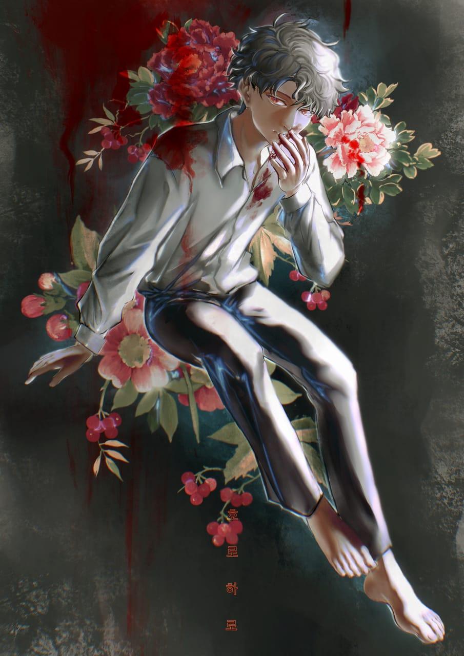 red Illust of horoharo April2021_Flower oc original 2021 blood boy horoharo flower
