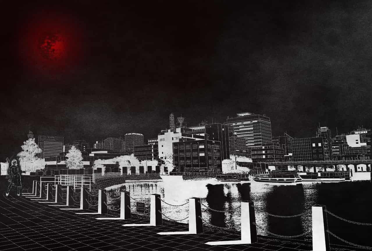 Kuchisake-onna Illust of CopperNeon Background_Image_Contest BackgroundImageContest_Using_Division dark yokai moon ghost black night woman Halloween monster red