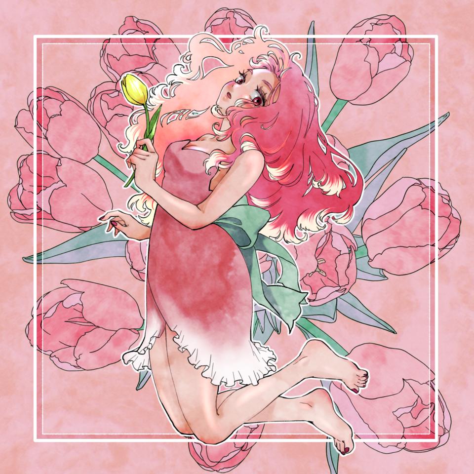 Tulips Illust of YUKIO April2021_Flower flower girl illustration