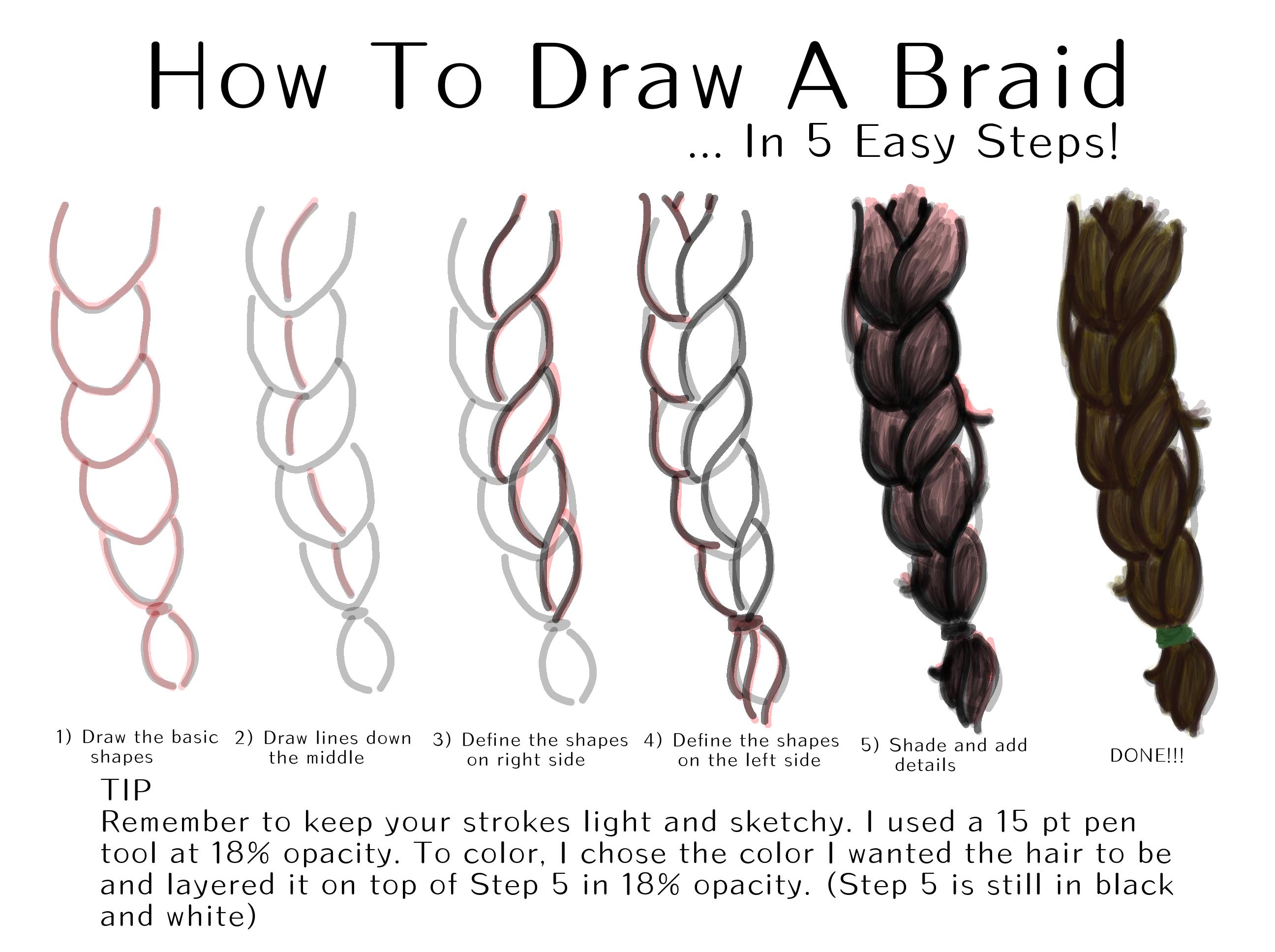 Step How To Draw A Braid