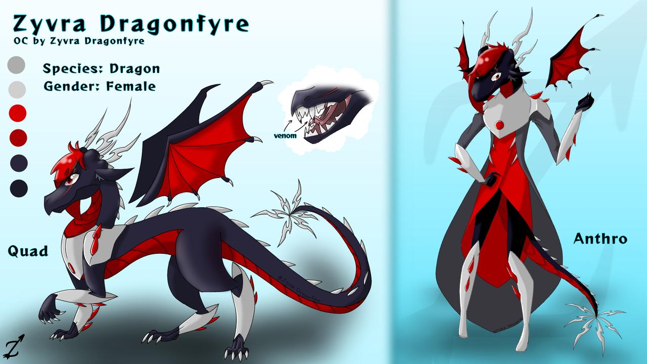 Zyvra Character Sheet Reference (see desc) Illust of Zyvra Dragonfyre medibangpaint dragon sorceress reference oc character Zyvra fursona furry