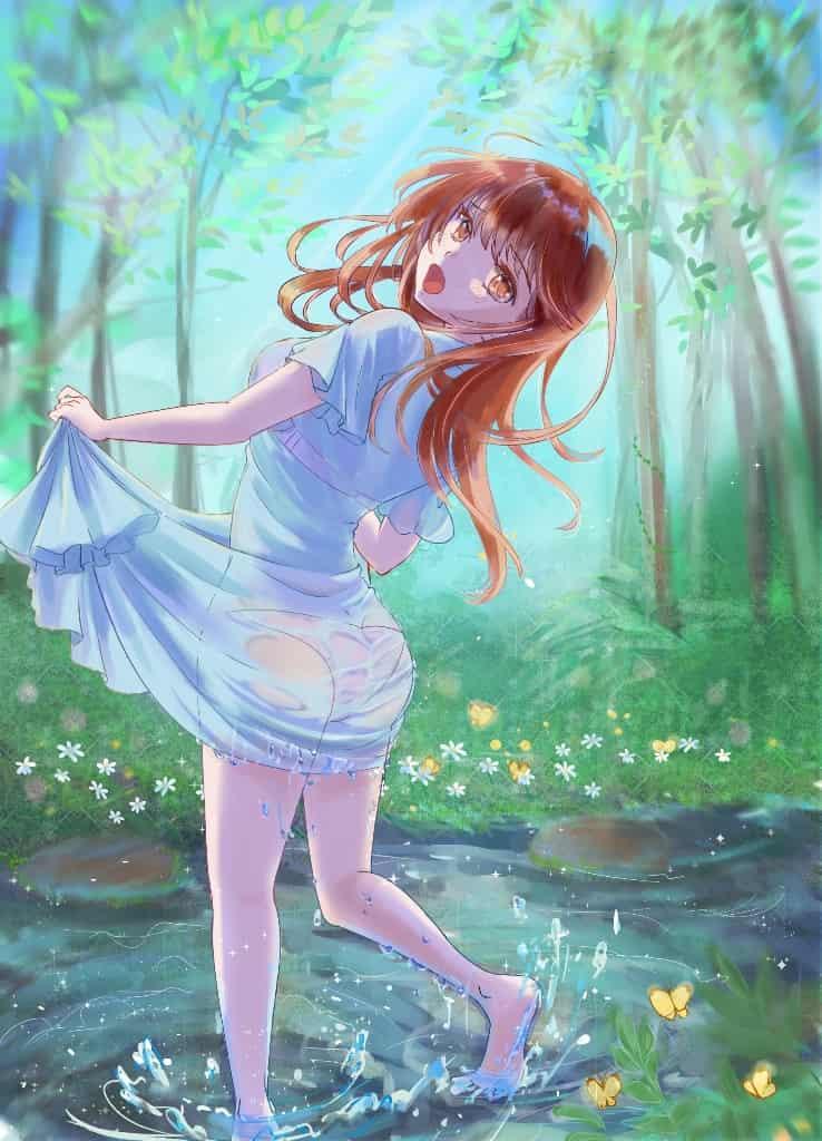 まだ冷たいね Illust of pepeami original forest 濡れ透け girl