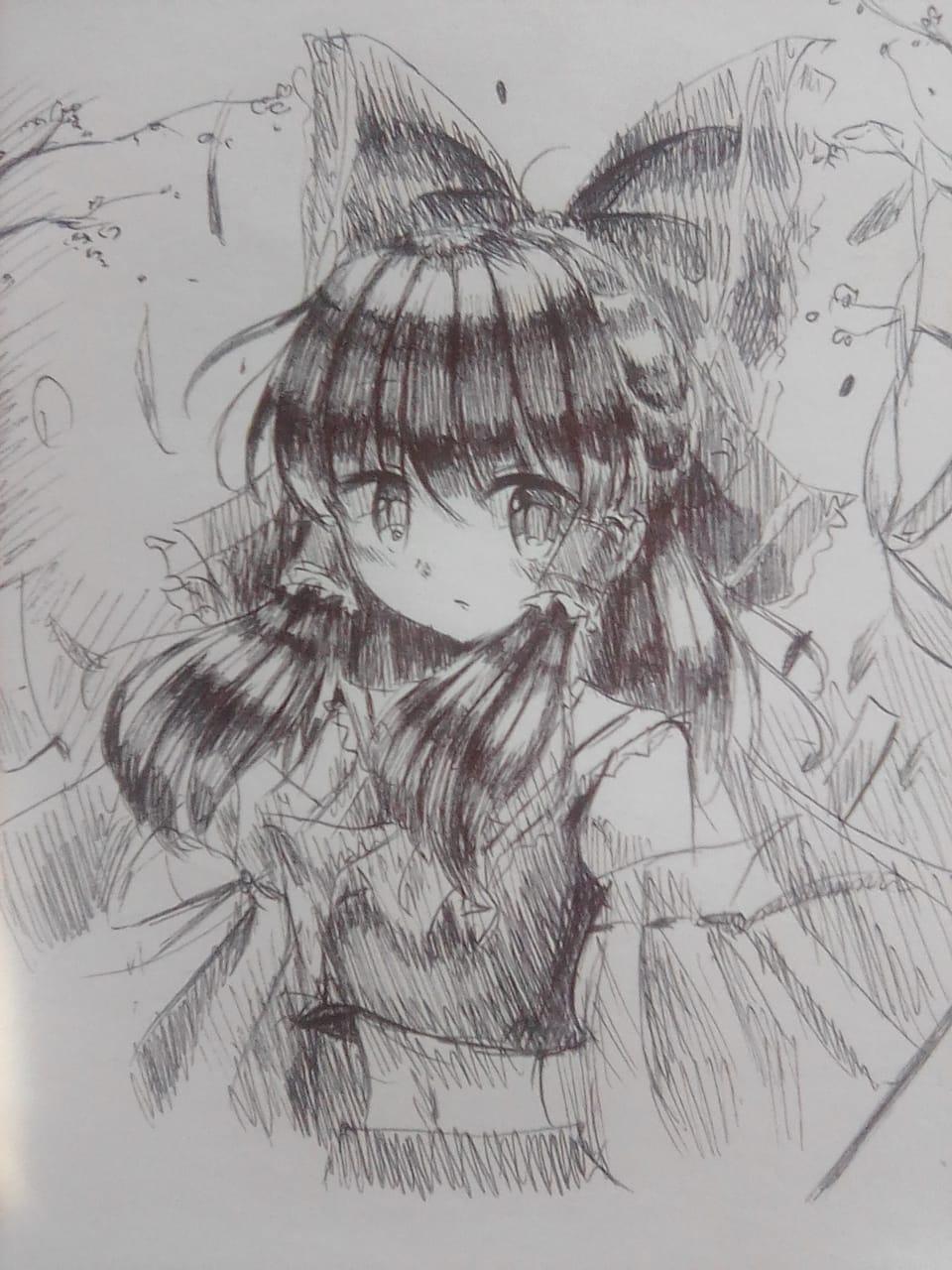 Reimu Hakurei  Illust of Izayoi Mikasa Touhou_Project ink thisartshouldlvlup blackandwhite Reimu_Hakurei Mii-chan(Mikasa) AnalogDrawing