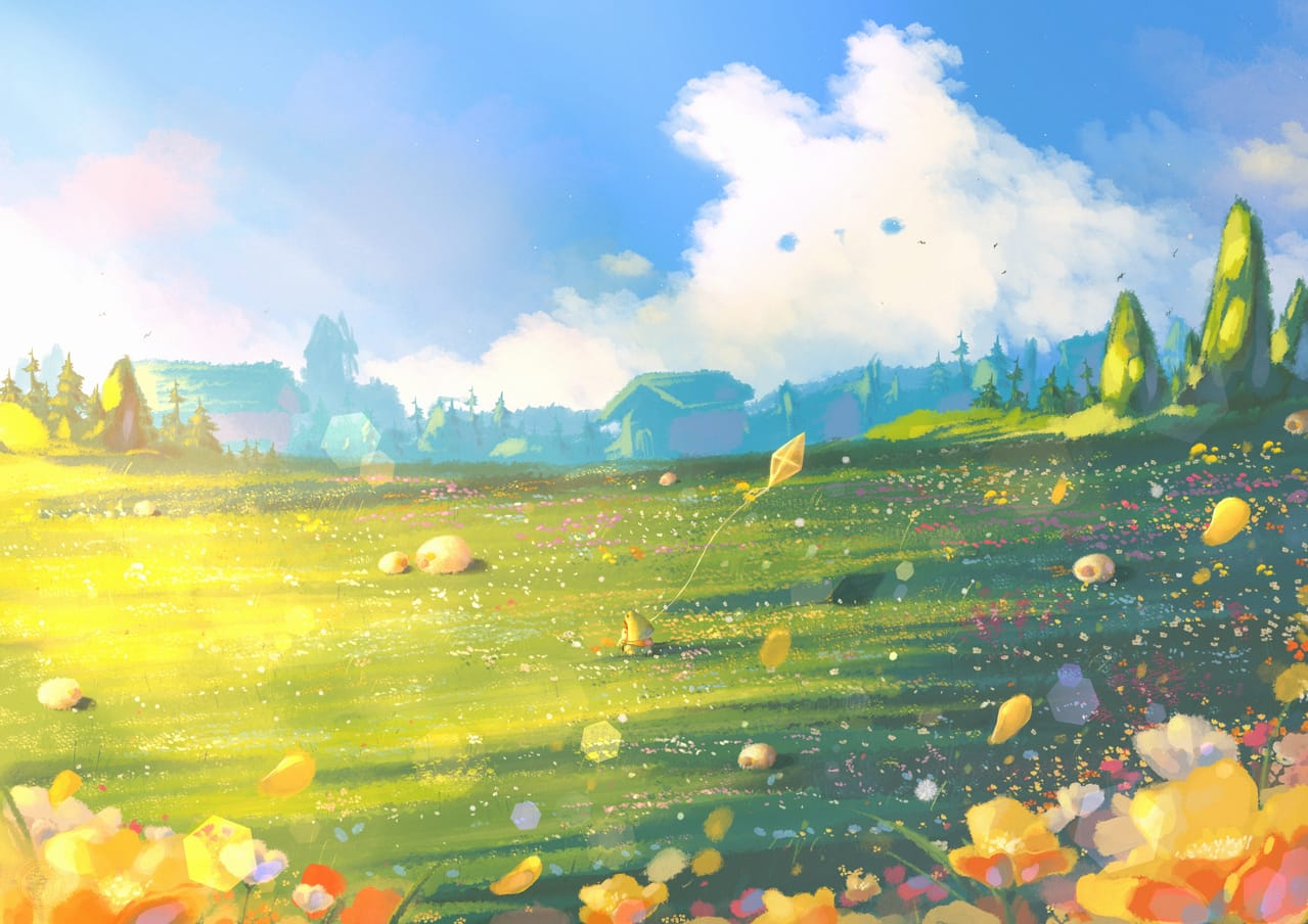 Spring Day With Yu Illust of Gummy.yy April2021_Flower flower springday illustration spring dreamy flowers cute heartwarming scenery illustrations