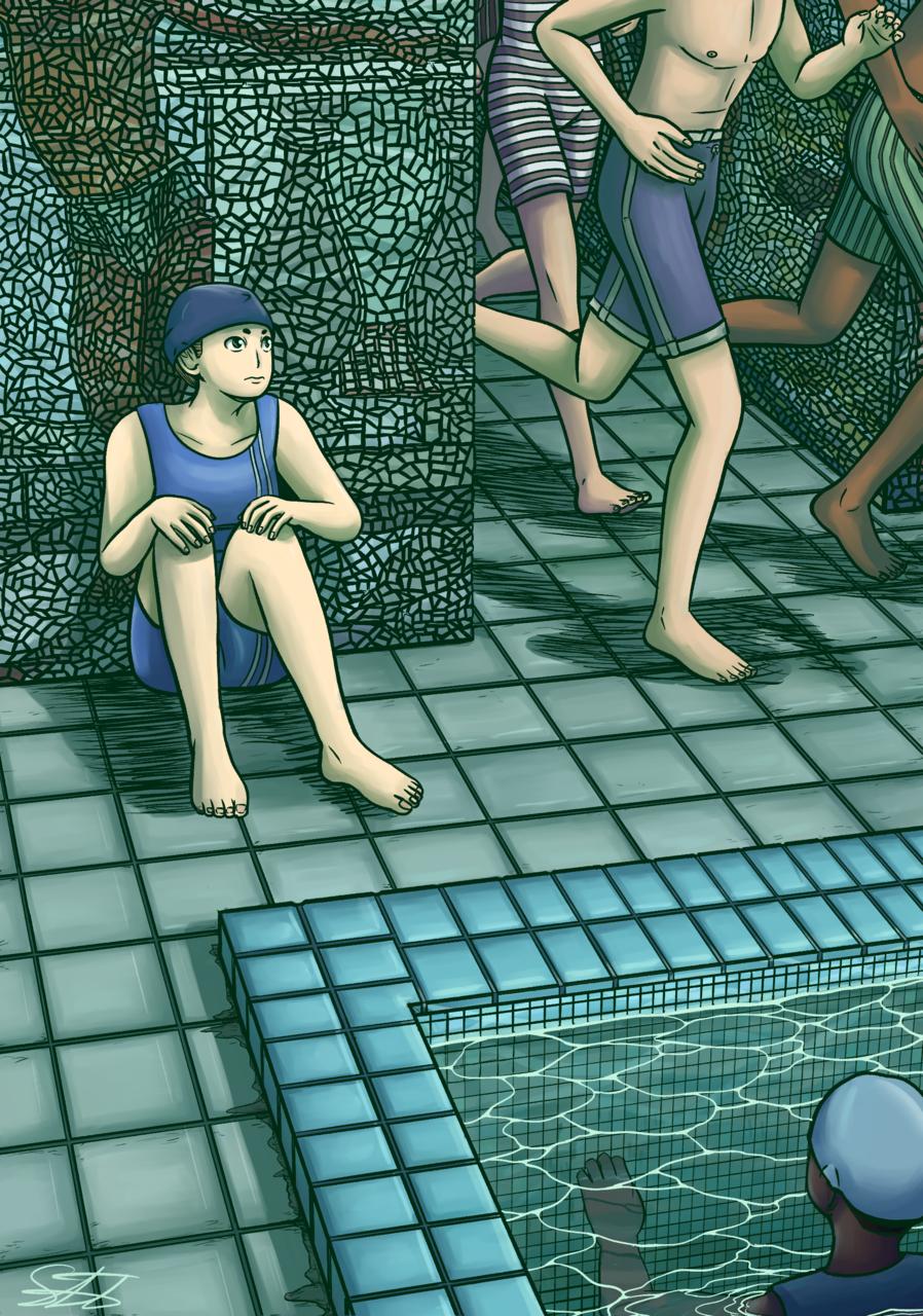 Green Pool Illust of Livresquare sports April.2020Contest:Color ARTstreet_Ranking girl green プール illustration water digital