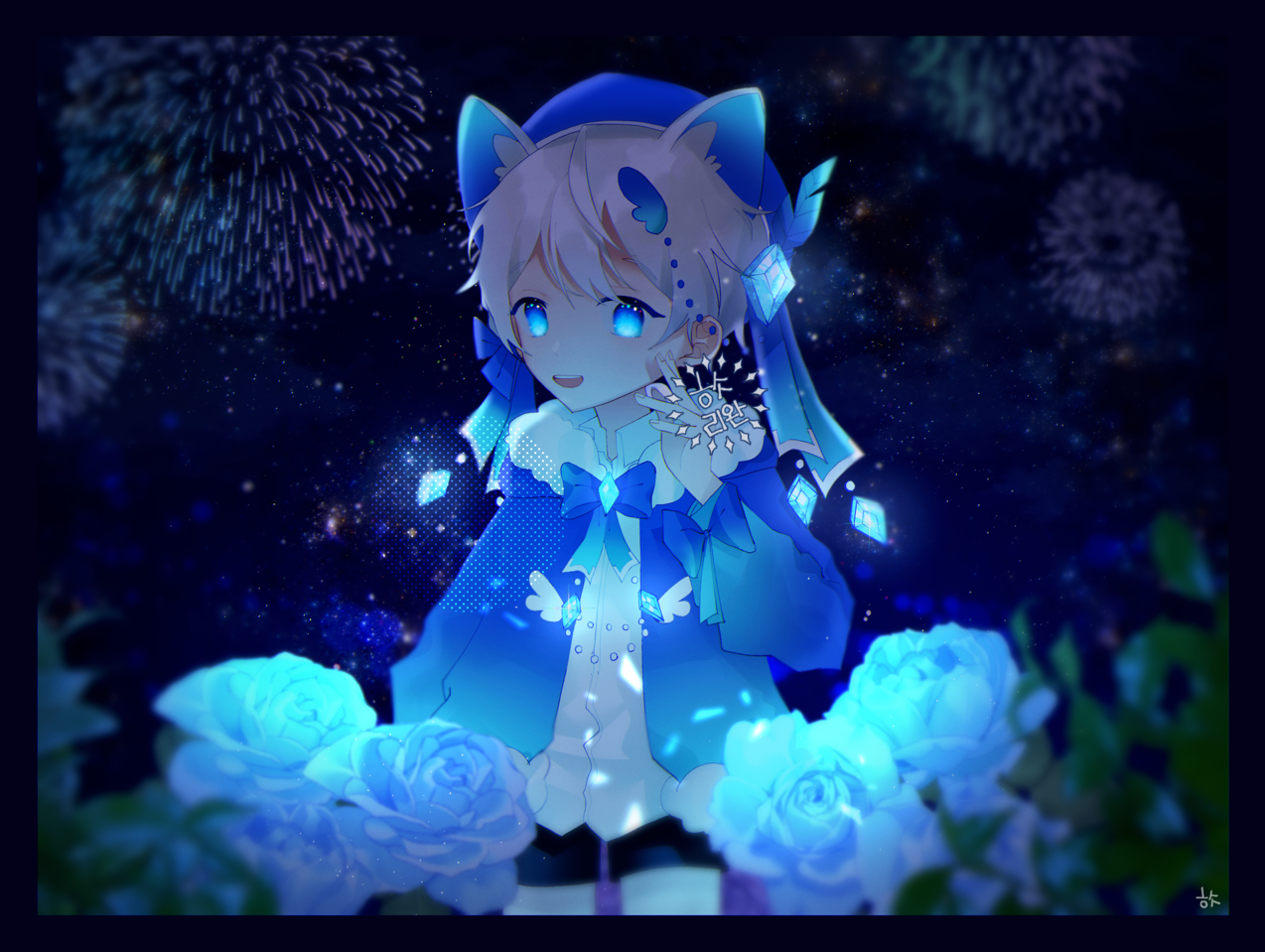 리퀘작 Illust of 히슷 rose blue cat_ears