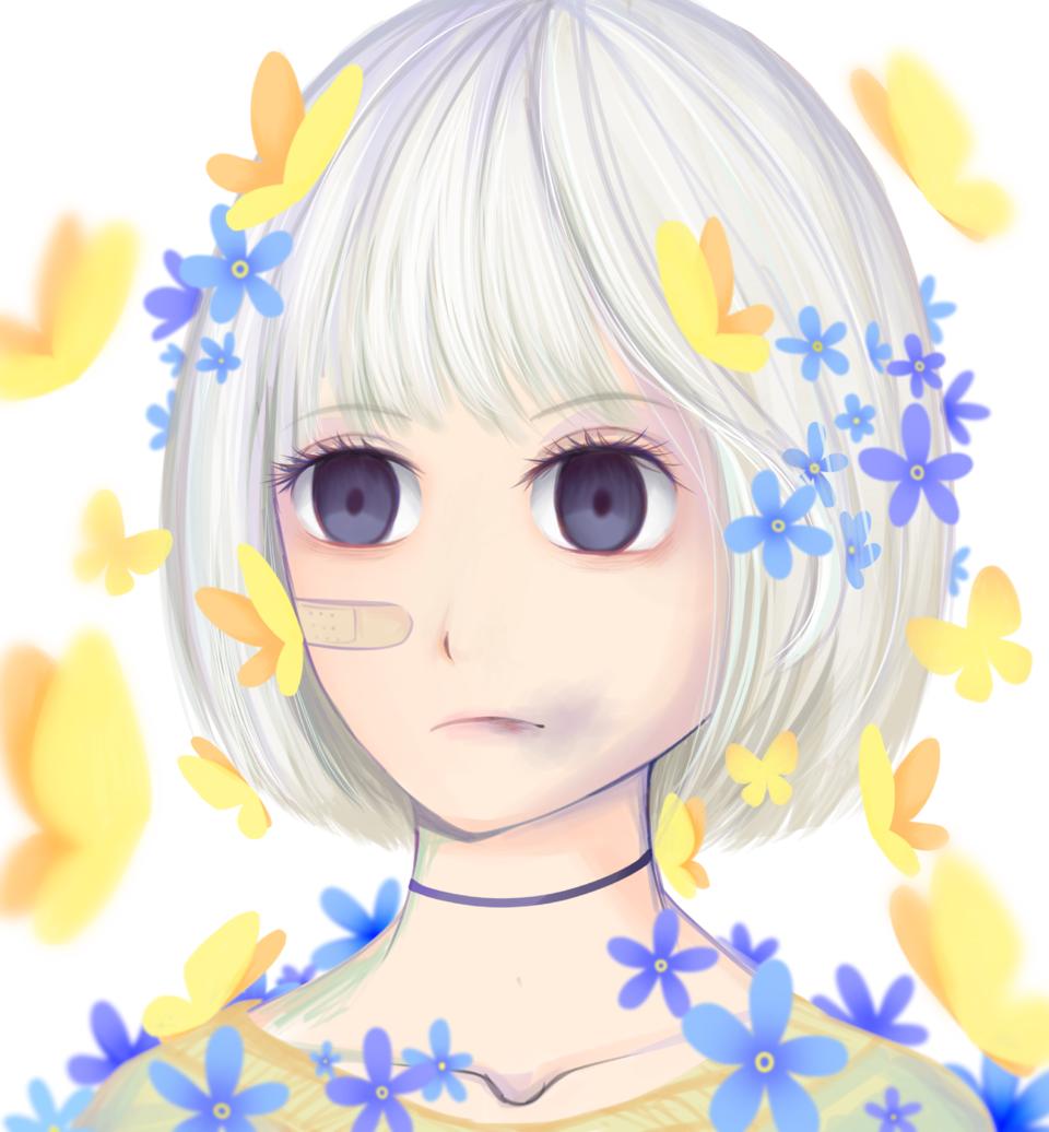 Hyacinth II Illust of VioletHoshimi April2021_Flower medibangpaint girl oc original blue painting flower illustration animegirl