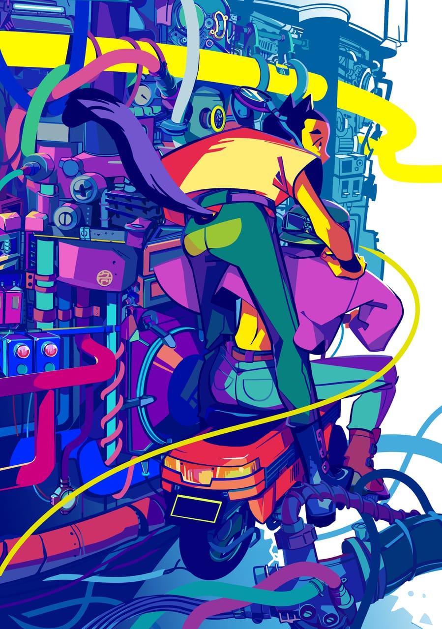 レッドバード Illust of 吉村 November2020_Contest:Cyberpunk motorcycle blue 坊主 cyberpunk buzzcut