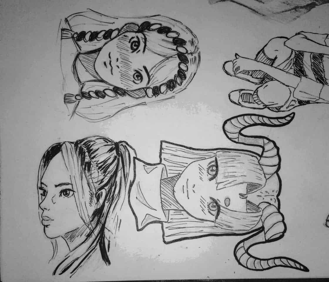 Practice #3 Illust of lrnart97 sketch girl cute drawing desenho