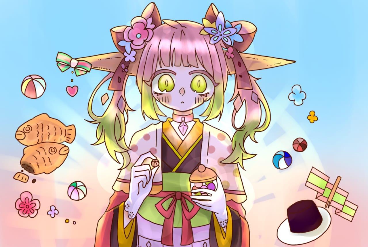 めだまやきさんの線画!!!!!!!! Illust of 兎爬ことり#アナログ同盟 線画お借りしました girl めだまやきペイント kawaii