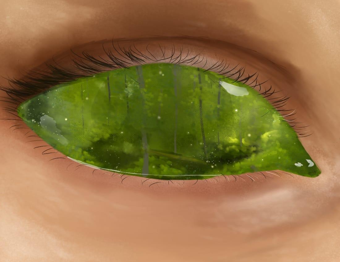 Woodland Gaze Illust of OneLunarKitty fantasy green forest scenery semirealism realistic eyes nature