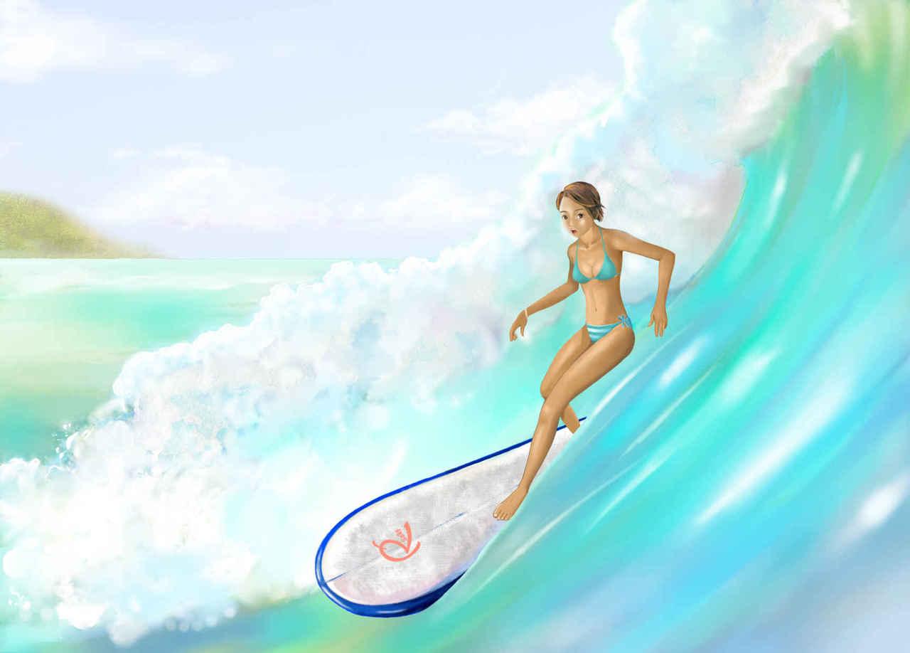 🌊八月早朝surfing Illust of beach st サーフィン 8月 girl ウエ~ブ bikini ガール summer ロングボード 小麦色の肌 sea