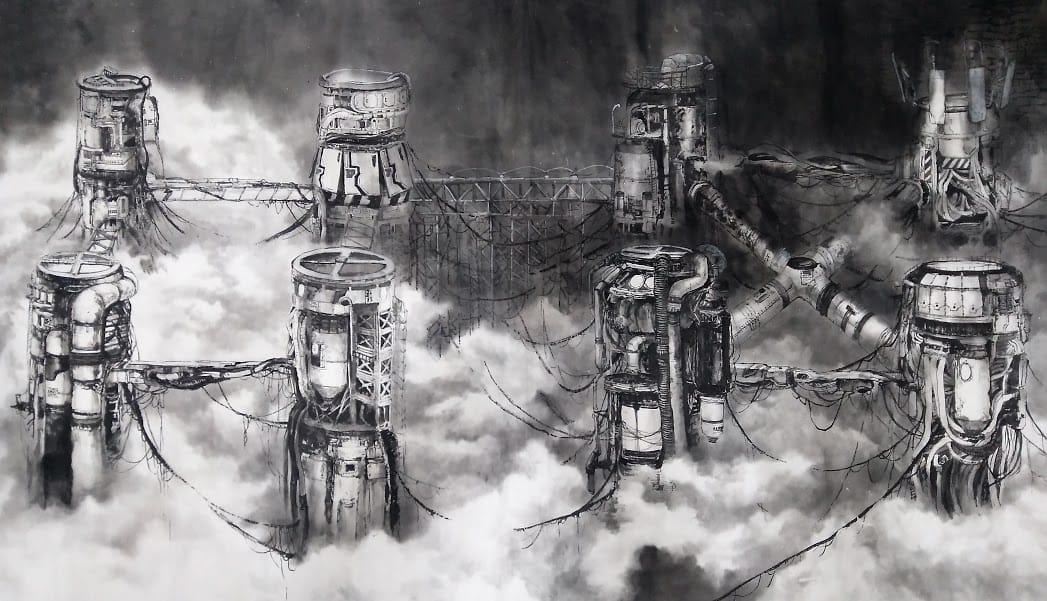 the factory Illust of lostbio November2020_Contest:Cyberpunk Mechanical cyberpunk Factory watercolour