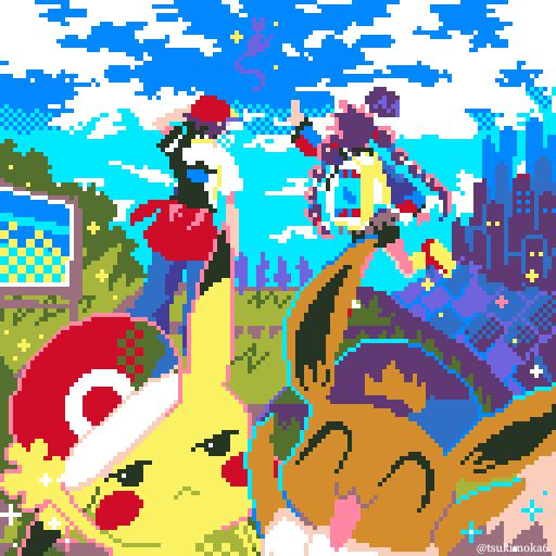 GOTCHA! Illust of ラテ茶 Eevee pokemon pixelart Pikachu